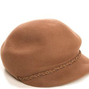 Women's Wool Newsboy Hat with lace, OS (brown)